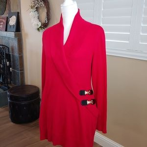 INC International Concepts Sweaters - INC Red Surplice Tunic Sweater XL